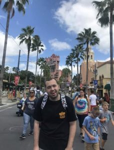 A person we support from the kings ripton care service having fun at disney land