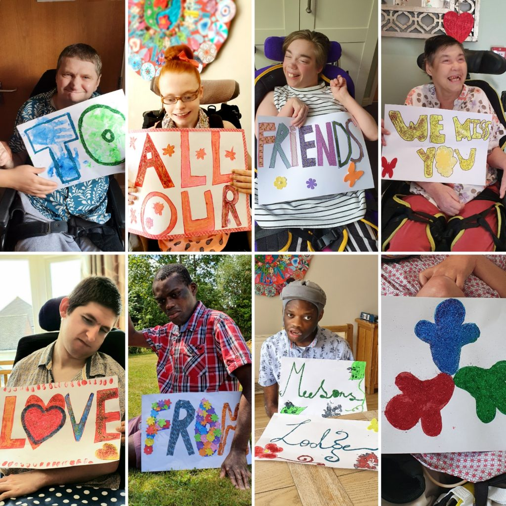 People we support sending messages to their friends for learning disability week