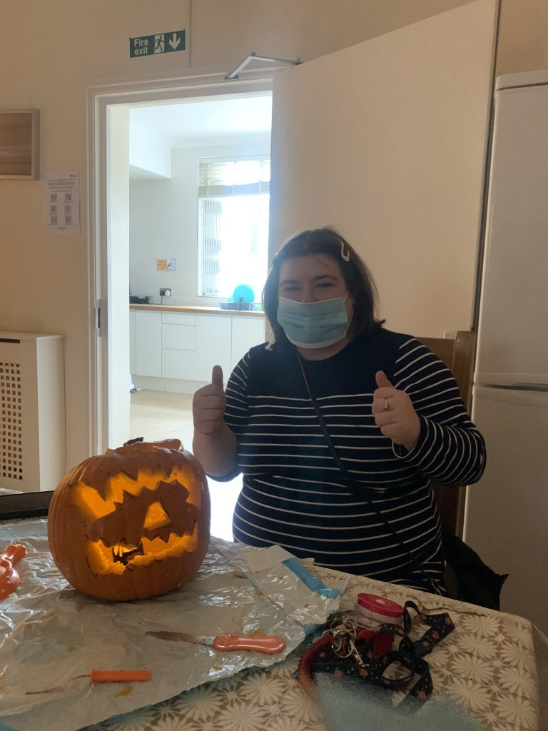 Mary makes her pumpkin